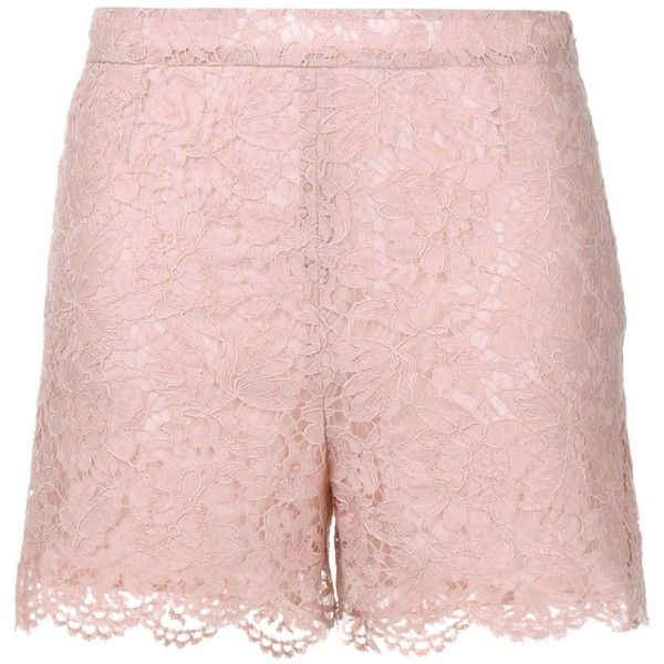 Valentino heavy lace shorts ($1,140) ❤ liked on Polyvore featuring shorts, lacy shorts, floral printed shorts, floral shorts, flower print shorts and pink shorts