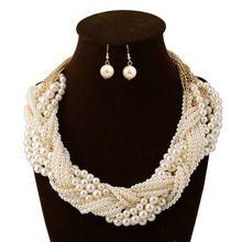 Moda mujer corta diseño piedras perla de cadena para mujer que hace punto Chunky collares gargantillas collares declaración de la joyería(China (Mainland))
