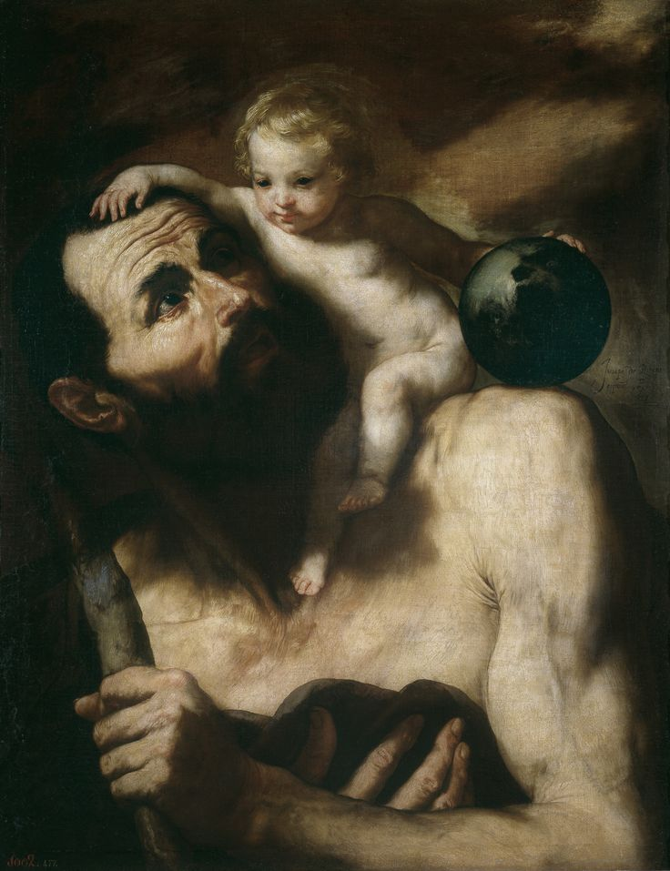 Saint Christopher with the Infant Jesus (1637)   -Jusepe de Ribera-      Museo del Prado, Madrid