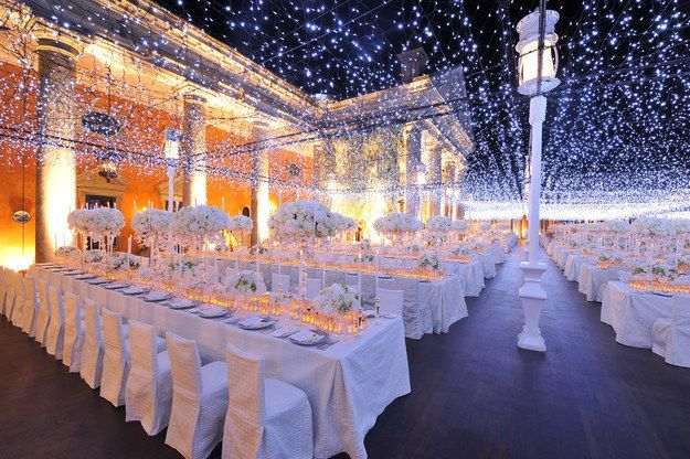 Blanket the ceiling in starlight. perfect | 21 Stellar Ideas For A Space-Themed Wedding