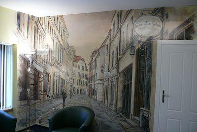 Artystyczne malowanie ścian, malarstwo dekoracyjne, mural, malowidła 3D, fresk, pokoje dziecięce: Malarstwo ścienne - uliczka w perspektywie