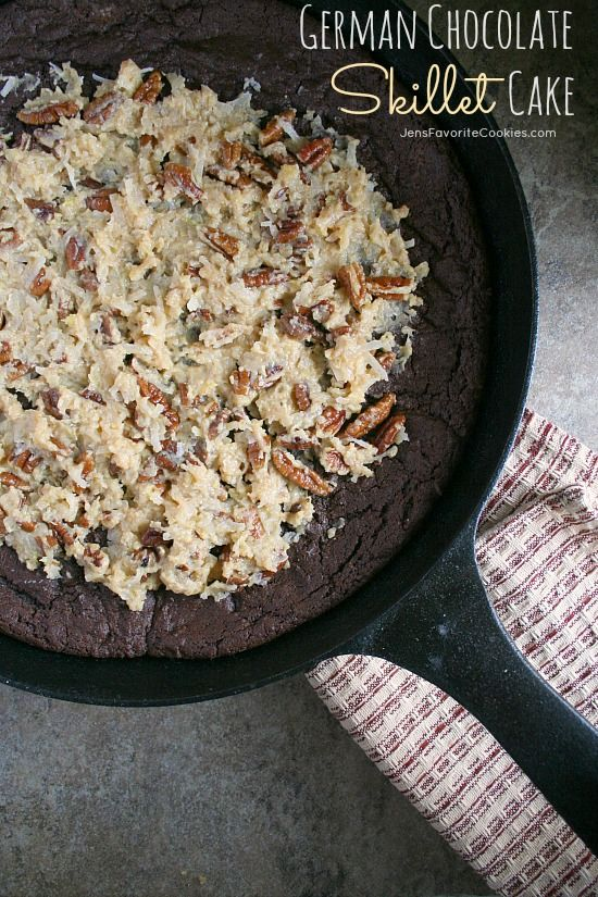 German Chocolate Skillet Cake from JensFavoriteCookies.com  - topped with the tastiest coconut pecan frosting!