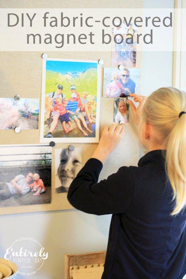 Bricolaje tejido revestido tablero magnético para la visualización de fotos de la familia!  Los niños les encanta ver fotos de ellos mismos.