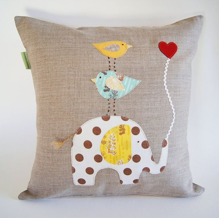 Children's Organic Linen Pillow Cover/ Elephant by dagmarsdesigns