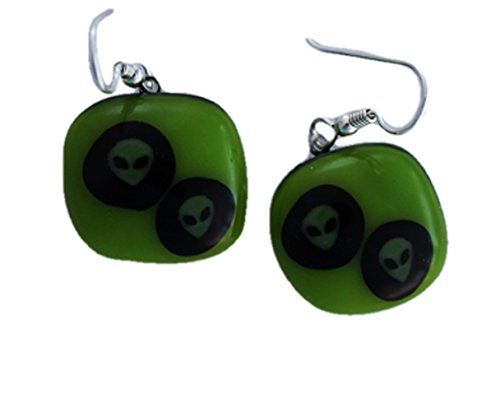 Jewels of Fire Twin Roswell-Inspired Aliens Halloween Glass Drop Earrings on a Lime Green Background