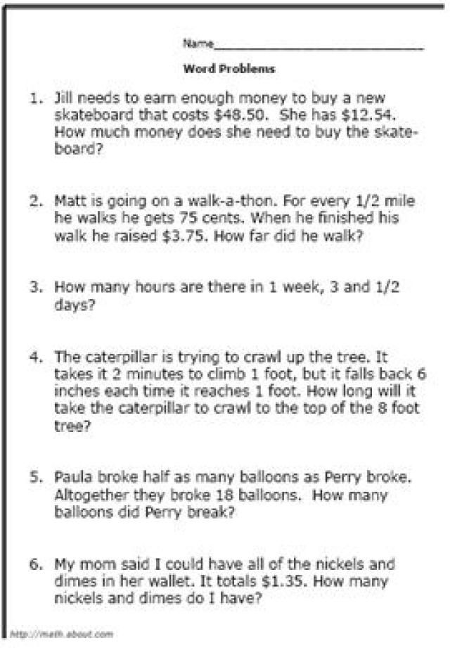 This is a graphic of Juicy Printable Math Word Problems