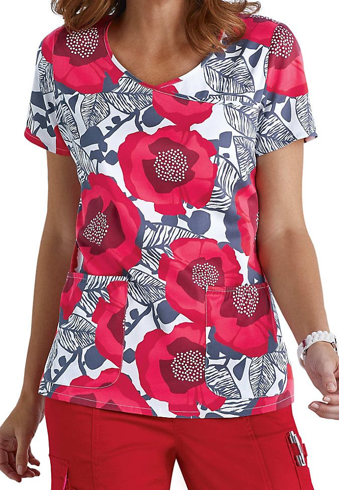 Beyond Scrubs Wild Flower red y-neck print scrub top. Main Image