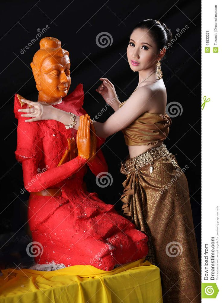 Thai model and wax statue stock photo. Image of buddha - 41533278