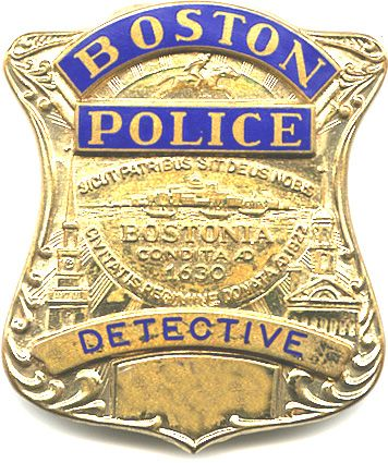 Detective's badge. Same design for all badges, precinct in empty place.  Same crest on a flash.