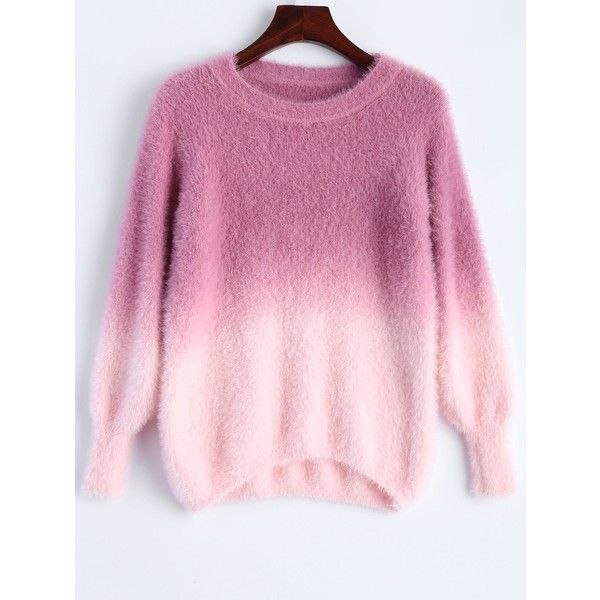 Ombre High-Low Sweater (£19) ❤ liked on Polyvore featuring tops, sweaters, shirts, pink ombre sweater, ombre top, ombre sweater, shirt sweater and pink shirts