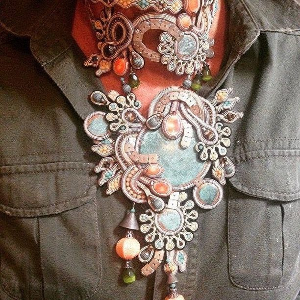 Eden Haute Couture necklace #doricsengeri #hautecouture #eden #greenandorang #statement