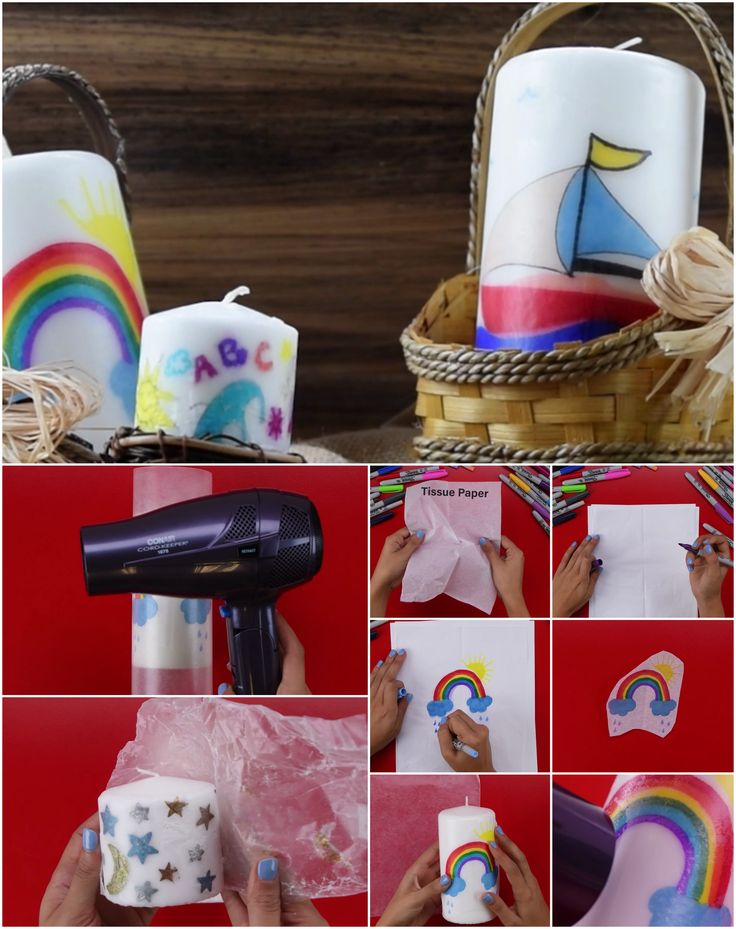 Creative diy idea! How to transfer pictures from tissue paper onto a candle with just a blow dryer! #babyfirsttv #diy #creative #artsy #crafty #hack #kids #parenting