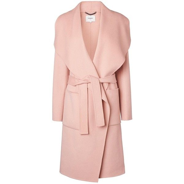 L.K. Bennett Fran Mink Pink Wool Coat (€520) ❤ liked on Polyvore featuring outerwear, coats, pink wool coat, pink coat, wool coat, woolen coat and shawl collar coats