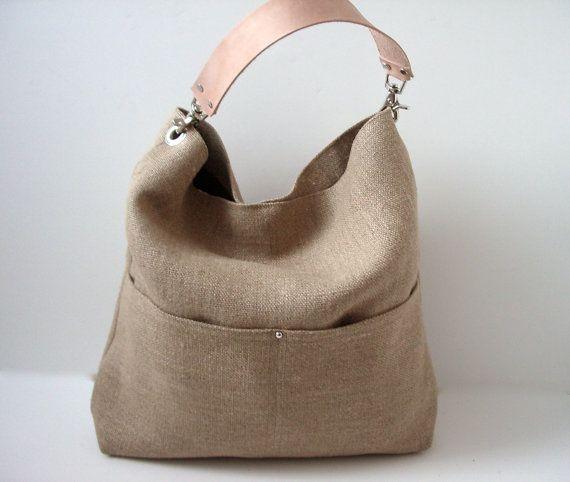 Beach Bag, Bucket Tote, Hobo Tote, Linen Tote Bag, Natural, Jute Woven Tote, Resort Tote, Summer Tote Bag, Women via Etsy