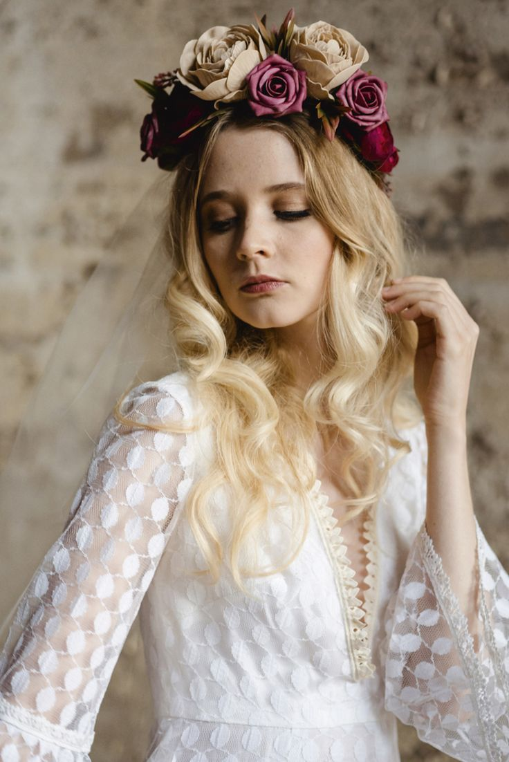 Be Bespoke Bridal Headpieces Ireland - 1970s lace vintage wedding dress with fluted sleeves and bespoke flower crown both available from