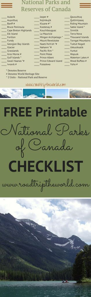 Check Out this Printable National Parks of Canada Checklist. So many amazing wilderness treasures in Canada!