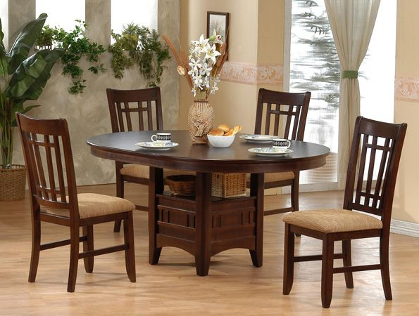 4566 contemporary five piece dining room set in solid wood features an oval  table with leaf20 best Dining Rooms at Extreme images on Pinterest   Dining room  . Round 5 Piece Dining Set With Leaf. Home Design Ideas