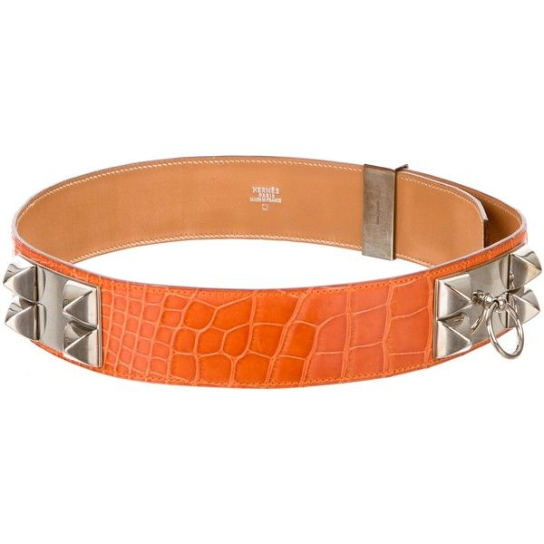 Pre-owned Herm?s Alligator Collier De Chien Belt ($2,100) ❤ liked on Polyvore featuring accessories, belts, orange, hermes belt, alligator belt, waist belts, hermès and orange waist belt