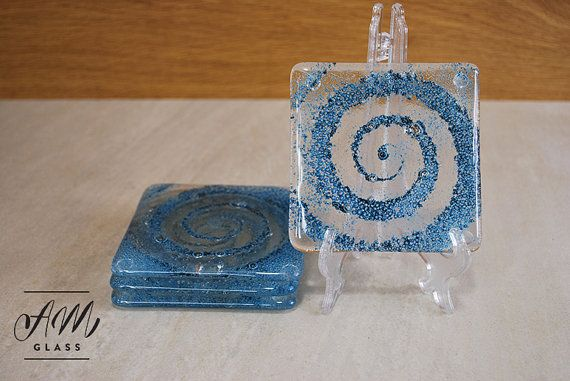 Fused glass bubble effect glass coasters set of 4 by AMGlassStudio