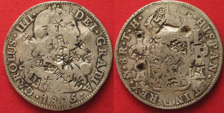1805 Mexiko MEXICO 8 Reales (Peso) 1805 TH Mo CARLOS IV silver CHINESE CHOPMARKS VF # 90146 VF