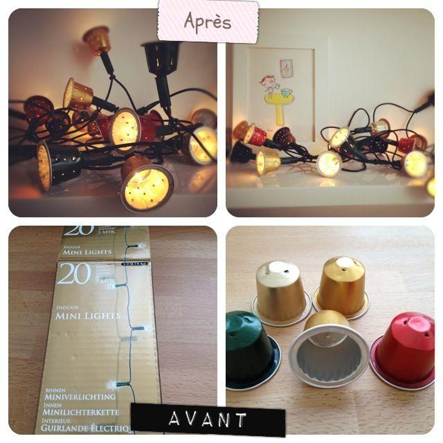 Idée récup : capsules Nespresso et ampoule http://chiaraetmoi.com/index.php/blog/130-nespresso-lumineux.html