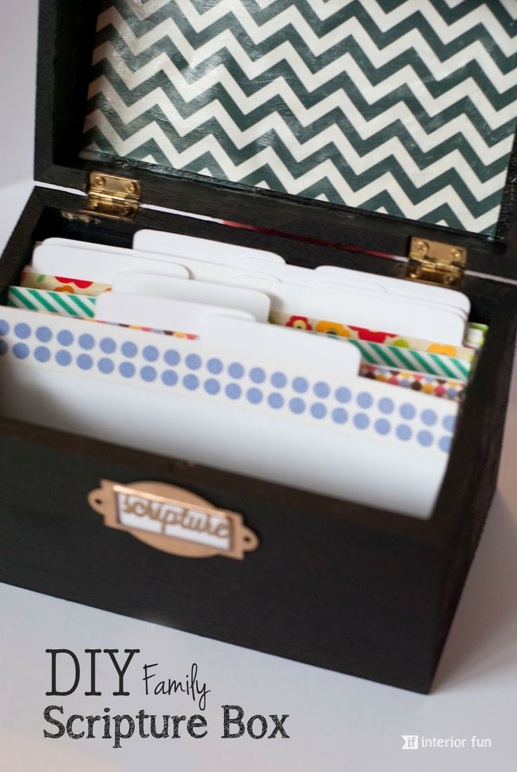 DIY Family Scripture Box -- Favorite family scriptures divided into categories. To be read together daily at the dinner table. Great way to get kids learning and memorizing verses!