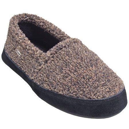 Acorn Slippers Men's Brown/Black Fleece Slippers 10116 BWN