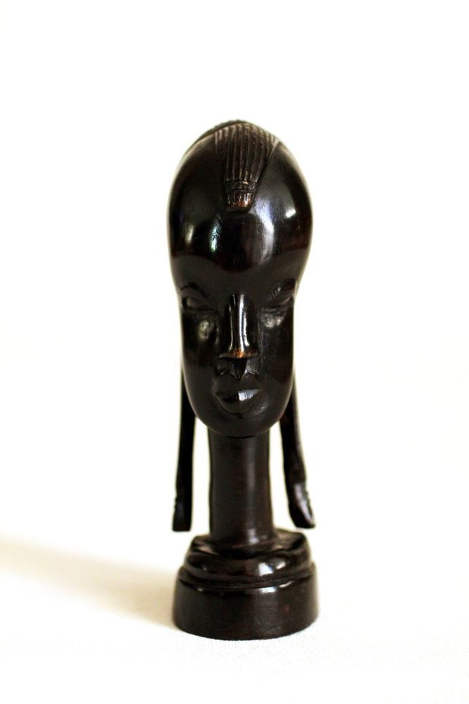 African Carved Dark Wood Sculpture Head With Long Ears
