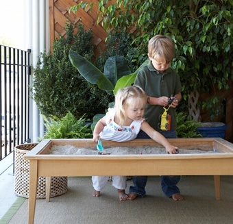 a sandbox for kids that could easily be covered to keep animals out