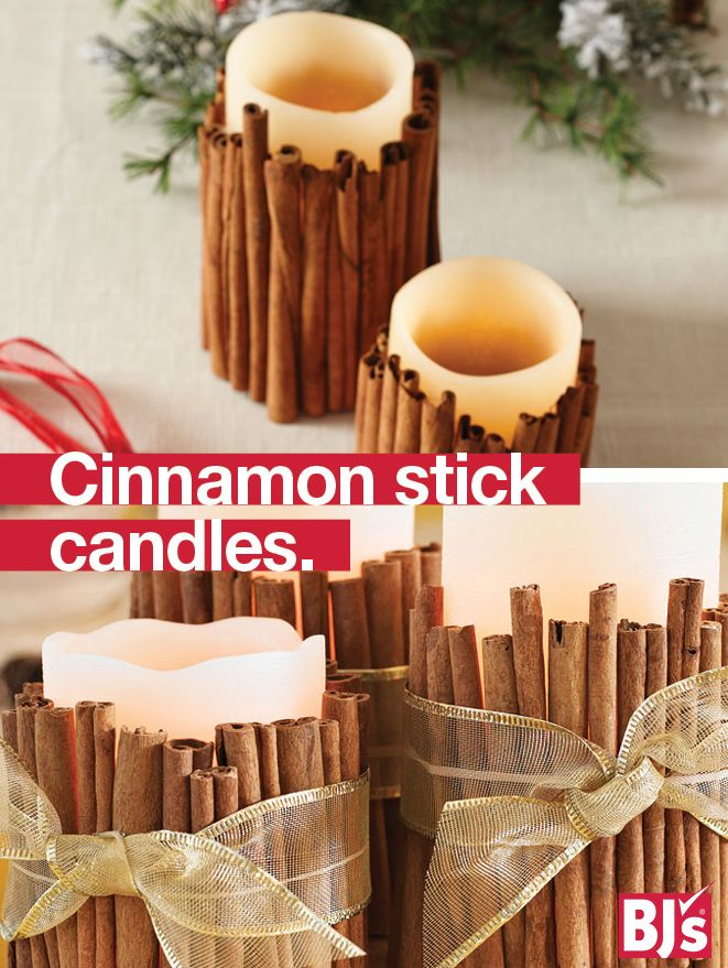 DIY Holiday Candles - Make cinnamon-scented holiday candles for your mantel or holiday tablescape. Easy LED candle upgrade. http://stocked.bjs.com/content/cinnamon-stick-candles