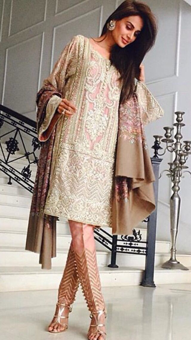 Pakistani/Indian Salmon & Beige Shalwar Kameez | Love the Top | Elegant & Beautiful for Spring Events