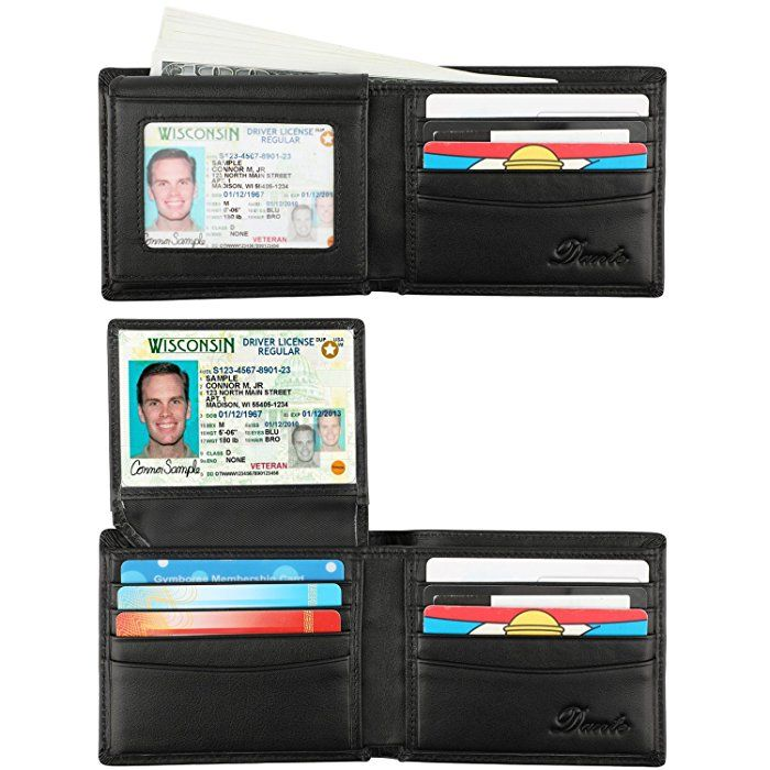f308678cde769d Dante RFID Blocking Stylish Leather Wallet for Men, Credit Card Protector(2  Window Black) at Amazon Men's Clothing store: