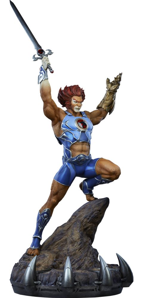 "Lion-O Statue Sideshow is proud to present the Lion-O Statue, the next exciting addition to the ThunderCats collection.  Lion-O stands proudly atop a Cats' Lair inspired base, holding the legendary Sword of Omens high above his head. In the other hand, he wields the intricate golden Claw Shield. The Lion-O Statue measures 27"" tall from the bottom of the clawed base to the tip of his sword. click for more information"