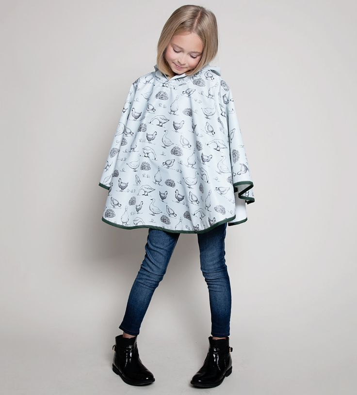 Farm Animal Pattern Kids Waterproof Rain Poncho