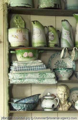 .Pretty collection of vintage green china love the mix of tea towels and enamelware