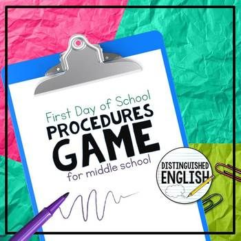 First Day of School Procedures Game for Middle School Rather than read a long list of classroom rules and procedures, I play this fun game with my students on the first day of school. First I pass out cards to my students and tell them that their