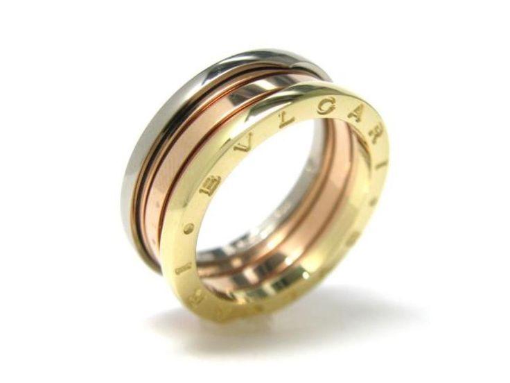 authentic bvlgari bulgari bzero1 ring s 3band 18k rose pink white yellow gold