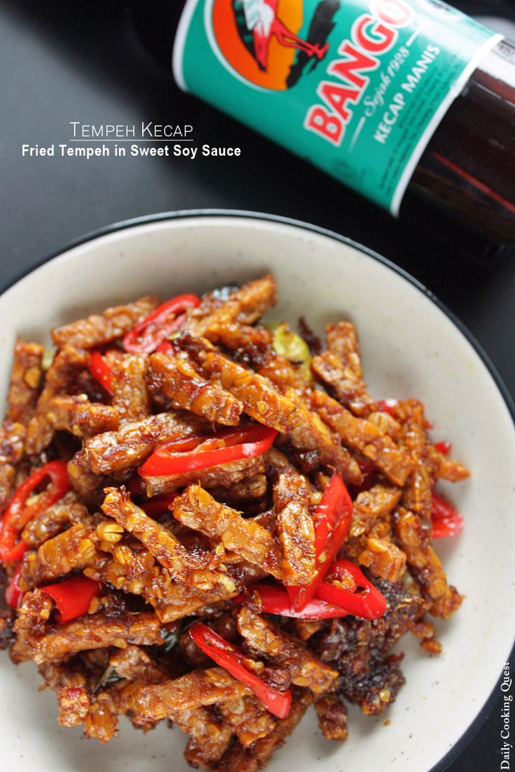 Tempe kecap - fried tempeh in Indonesian sweet soy sauce (kecap manis).