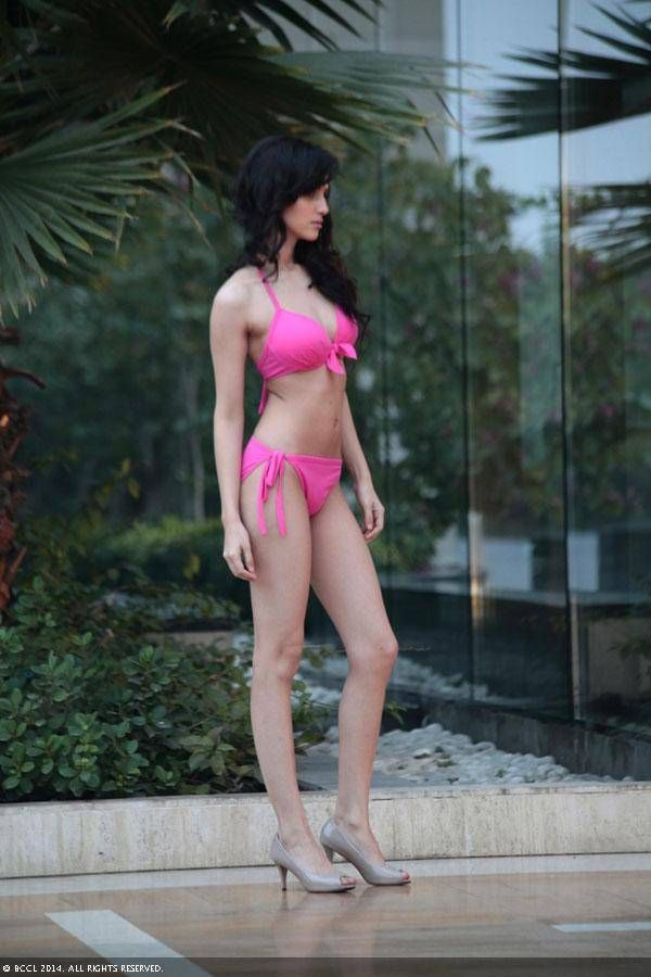 fbb Femina Miss India Delhi 2014 finalist Koyal Rana during a bikini shoot at the Kempinski Ambience, Shahdara in Delhi.
