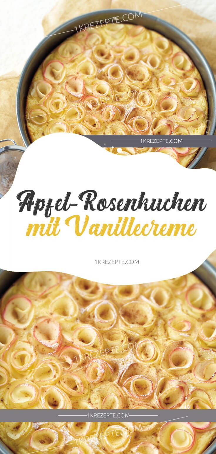 Apple and rose cake with vanilla cream   – lecker Kuchen