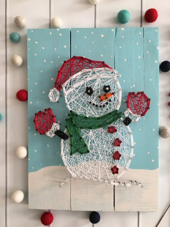 Tekenreeks Art – aanpasbare String Art – Kerstmis String Art – nagel en String Art – vakantie Decor – Frosty de sneeuwpop – Christmas Decor