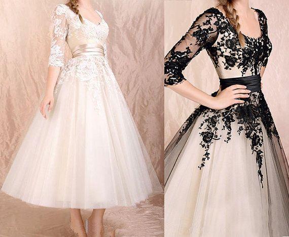 Custom Made Elegant Long Sleeves Dress,Black Lace Dress,Lace Prom Dress,Informal Wedding Dress via Etsy