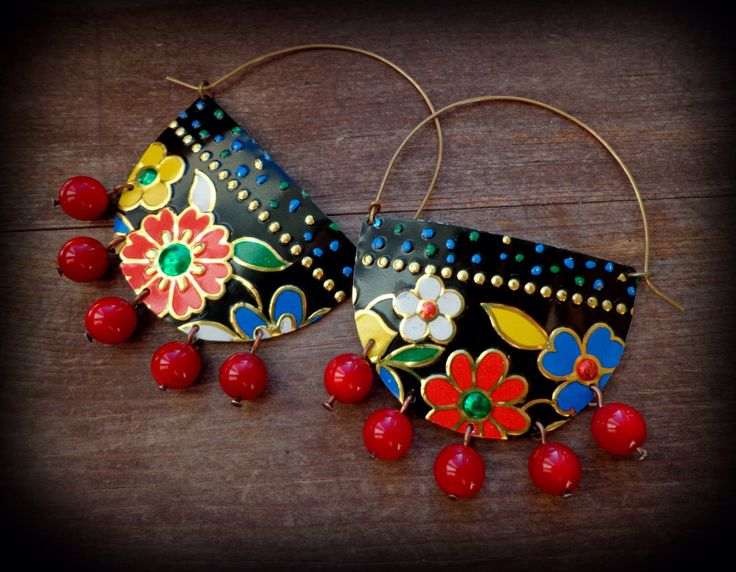 ethnic hoop earrings, big gypsy earrings, vintage tin earrings, mexican hoop earrings, india jewelry, moroccan jewelry, bohemian earrings by anainc on Etsy https://www.etsy.com/listing/233382708/ethnic-hoop-earrings-big-gypsy-earrings
