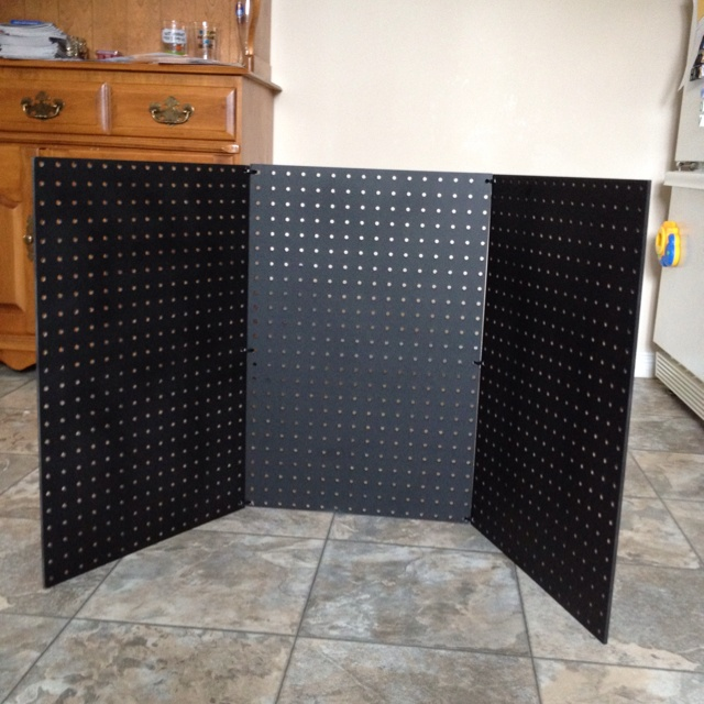 DIY Pegboard Stand for my Scentsy shows. Just add hooks and product.