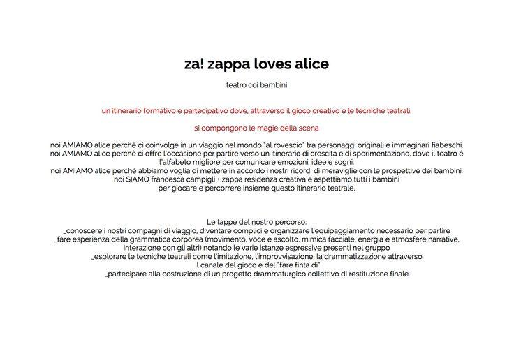 diario del progetto zappa loves alice, percorso di teatro coi bambini su alice nel paese delle meraviglie svolto da ottobre 2015 a maggio 2016 presso Zappa a Prato.