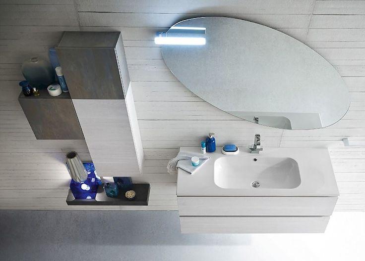 Bagno BGo con lavello incasso e specchiera circolare: personalizzabile nelle finiture effetto legno o effetto pietra