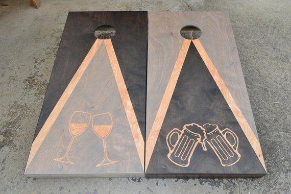 Cheers Wedding Custom Full Size Stained Cornhole Boards Set wbags Baggo Lawn Games  Corn Toss WeddingPersonalizedLogocorn hole board