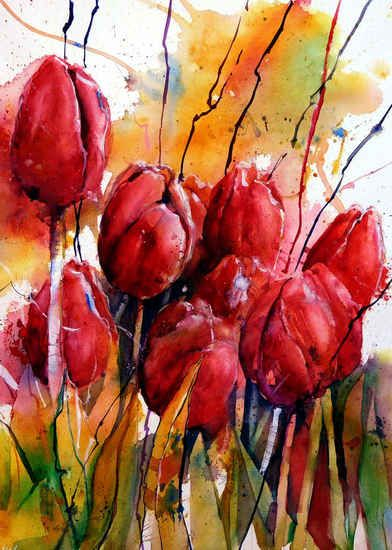 Tulips in watercolor by Gerard Hendriks