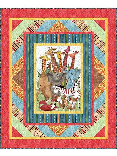 "Have a real jungle party with this adorable quilt pattern!  This fun, colorful and kid-friendly quilt pattern is a breeze to make. Designed to be used with the Wild Things panel (shown below), you'll soon have a finished quilt perfect for any little one in your life! Finished size is 50"" x 60""."