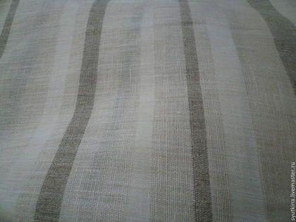 Лен с полосками Cafe glace - лен 100%,натуральный лен,льняная ткань,льняное шитье